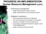 progress on implementation human resource management cont38