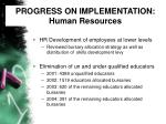 progress on implementation human resources