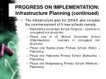 progress on implementation infrastructure planning continued29