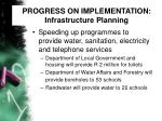progress on implementation infrastructure planning