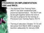 progress on implementation obe and rncs