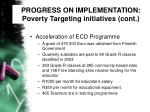 progress on implementation poverty targeting initiatives cont35