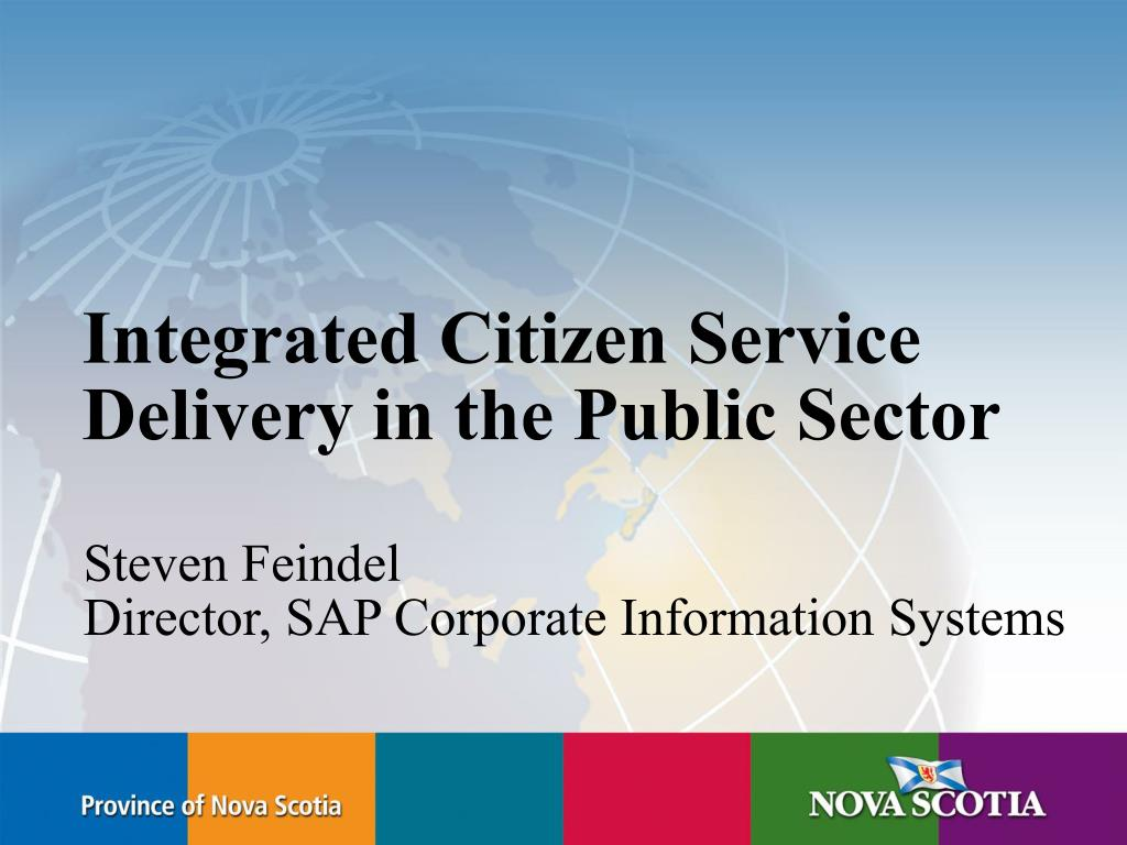 integrated citizen service delivery in the public sector l.