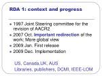 rda 1 context and progress