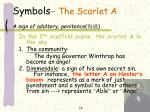 symbols the scarlet a a sign of adultery penitence