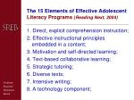 the 15 elements of effective adolescent literacy programs reading next 2004