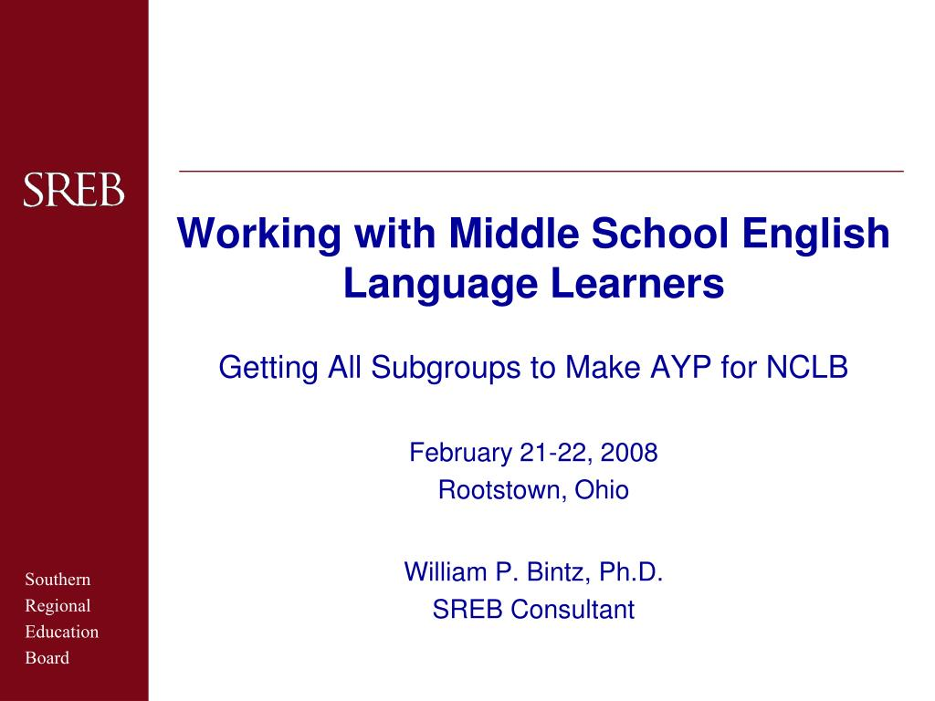 working with middle school english language learners l.