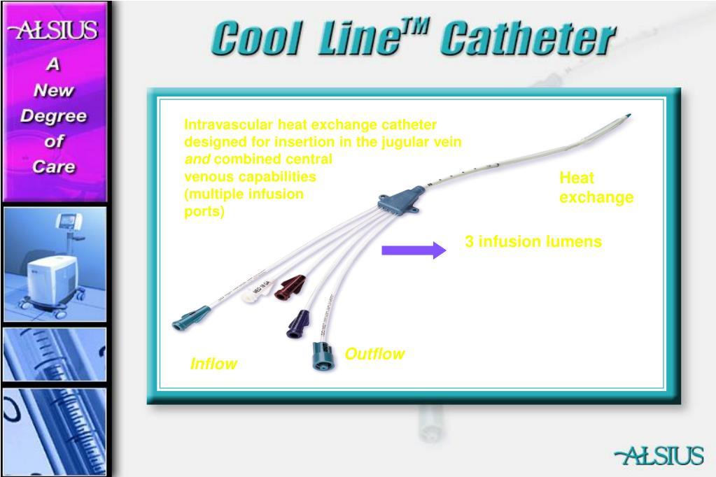 Intravascular heat exchange catheter designed for insertion in the jugular vein