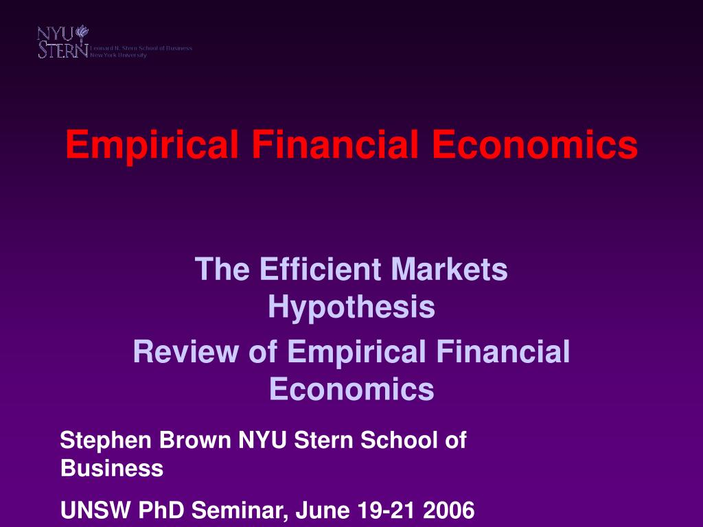 empirical financial economics l.