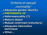 criteria of sexual normality