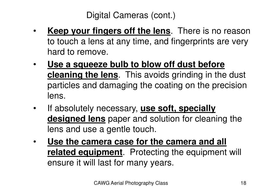 Digital Cameras (cont.)