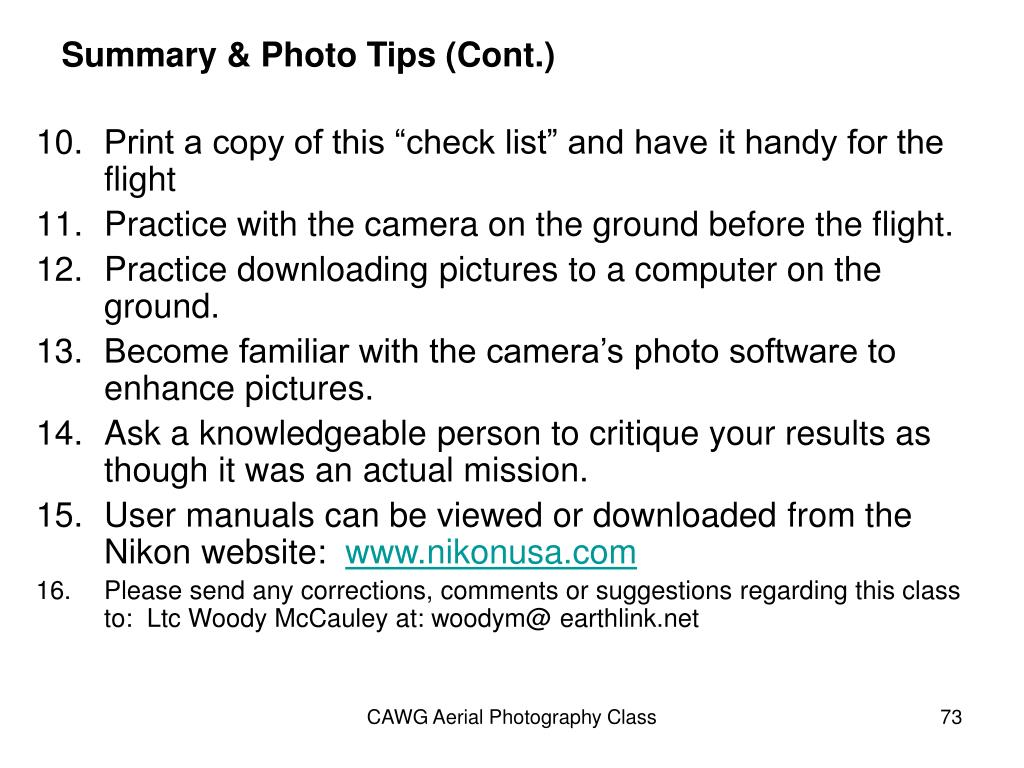 Summary & Photo Tips (Cont.)