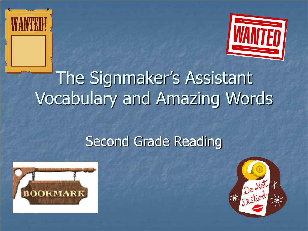 the signmaker s assistant vocabulary and amazing words l.