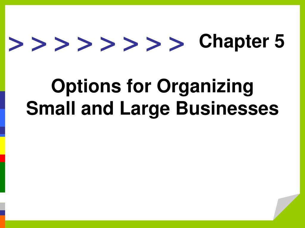 options for organizing small and large businesses l.