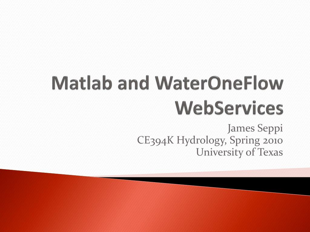 matlab and wateroneflow webservices l.