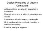 design principles of modern computers