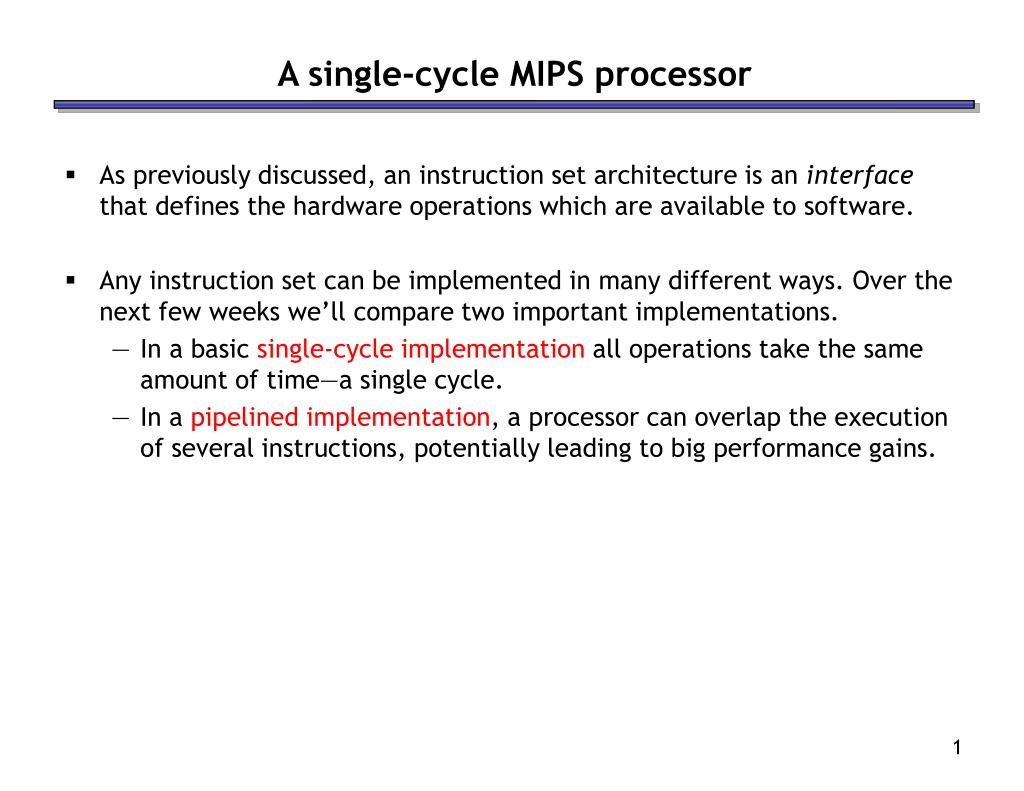 a single cycle mips processor l.