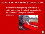 mobile water supply operations