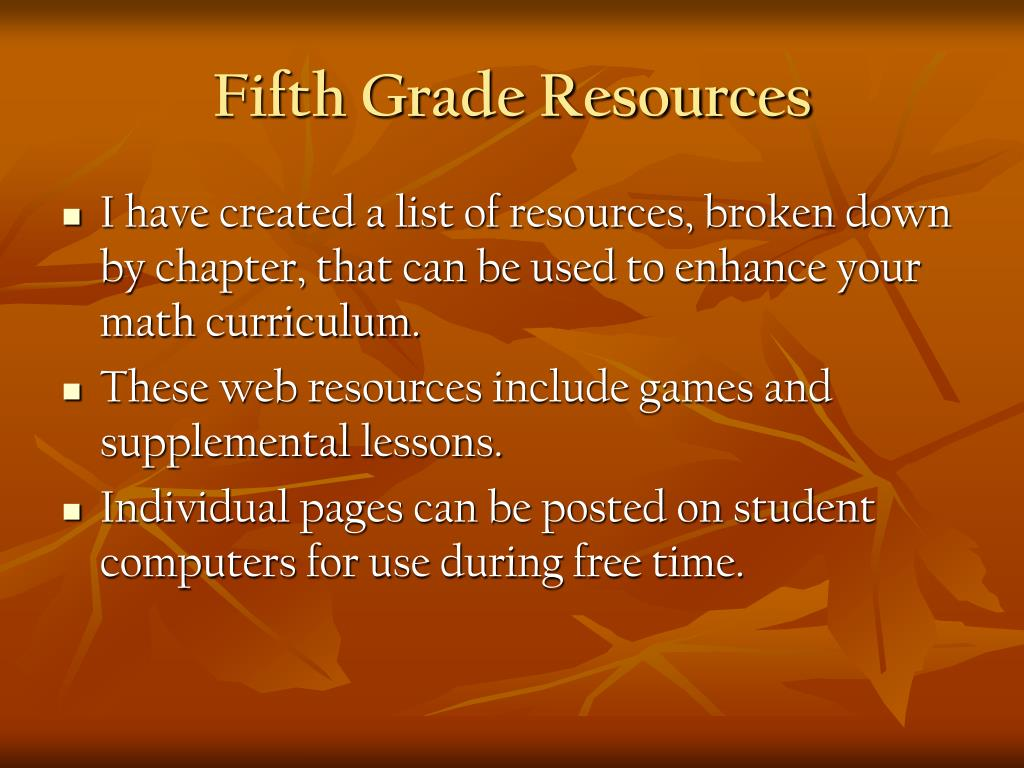 fifth grade resources l.