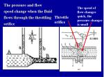 the pressure and flow speed change when the fluid flows through the throttling orifice