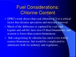 fuel considerations chlorine content
