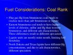 fuel considerations coal rank
