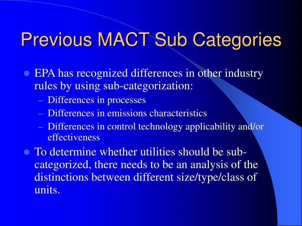 previous mact sub categories l.