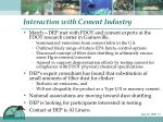 interaction with cement industry