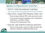 update on department s activities