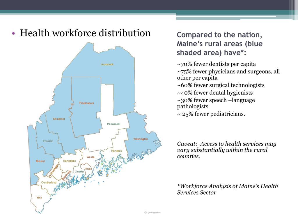 Health workforce distribution
