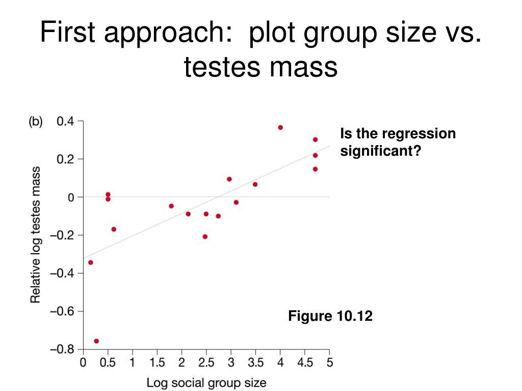 First approach:  plot group size vs. testes mass
