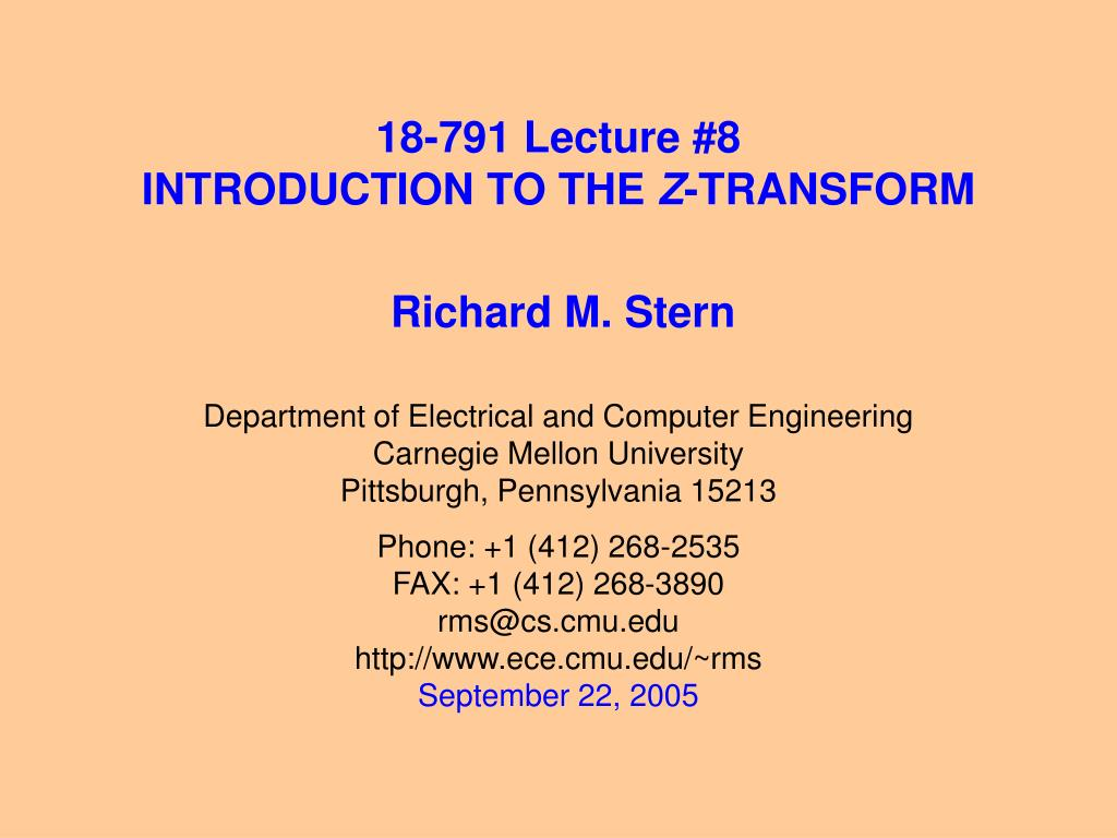 18 791 lecture 8 introduction to the z transform l.