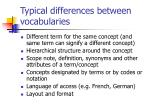 typical differences between vocabularies