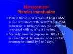 management platelet transfusion