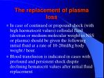 the replacement of plasma loss108