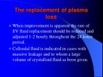 the replacement of plasma loss109