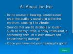 all about the ear