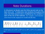 note durations