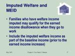 imputed welfare and meid