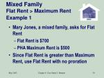 mixed family flat rent maximum rent example 1