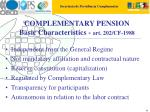 complementary pension basic characteristics art 202 cf 1988