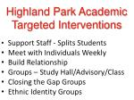 highland park academic targeted interventions