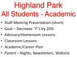 highland park all students academic
