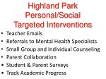 highland park personal social targeted interventions