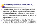 minimum product of sums mpos