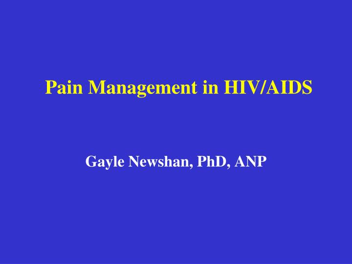 pain management in hiv aids n.