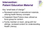 intervention patient education material
