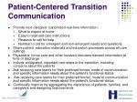 patient centered transition communication