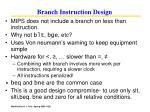 branch instruction design
