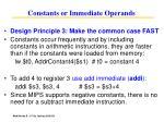 constants or immediate operands